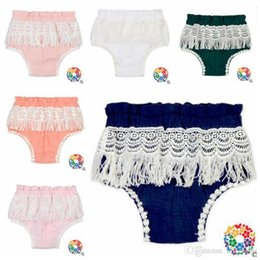 Wholesale 2t Girls Panties - Baby Clothes Bloomers Diaper Cover INS Tassels Panties Infant Ruffles Briefs Cotton Fashion Underwear Toddler Pants Summer Kids Panties J419
