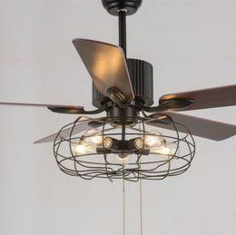 Vintage deckenventilatoren online-Loft Vintage Deckenventilator Licht E27 Edison 5 Lampen Pendelleuchten Deckenventilatoren Licht 110V 220V 52 In. 5 Holzklingen (inkl. Leuchtmittel)