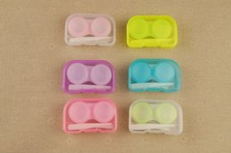 Wholesale Eyes Contact Lenses Box - 100pcs candy Color Contact Lens Case Contact Lens Box Holder Container Case Soak Soaking Storage Eye Care Kit Double Case Free DHL