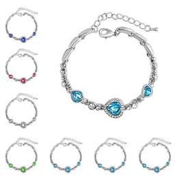 Wholesale Beads Making Designs - fashion jewelry ocean of heart crystal bracelet made with Crystals from birthstone for women's gift new design 162285