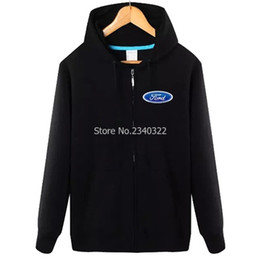 Wholesale Men Winter Long Work Coats - Wholesale- Off-road four-wheel driver Ford 4S shop work clothing autumn and winter sweatshirt coat zipper jacket
