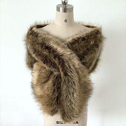 Wholesale Vintage Fur Bolero - Vintage Brown Faux Fur Winter Bridal Wrap Stole Shrug Cheap Wedding Evening Prom Party Shawl Cape Bolero Free Size