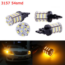 Wholesale Led Tail Lights Amber - 4pcs 3156 3157 Amber Xenon White Reverse Lights   Tail 54SMD LED Car Light Bulb
