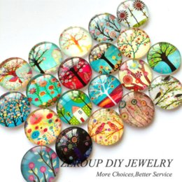 Wholesale Jewelry Glass Cabochons - 12mm HOT Tree Branch Pattern Round Glass Dome Cabochons Mixed Color Flat Back Pictures Fashion DIY Jewelry Findings 50pcs lot