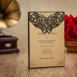 Wholesale New Black Wedding Card - New 2017 Invitations Cards Black Laser Cut Lace Hollow Flora Flat Party Cards With Kraft Paper Inner Sheet Special Retro Wedding Favors