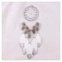 Wholesale Hanging Chimes - BestSeller Hanging Decoration Wind Chime Hanging Handmade Traditional White Feather Dream Catcher Wall Hanging Car Ornament Free Shipping