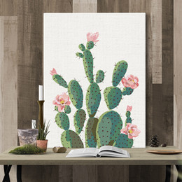 Wholesale indoor plant decor - Plant Wall Painting Home Decor Houseroom Restaurant Art Poster Background Decoration Gift Creative Cacti Indoor Mural 32 8gf C R