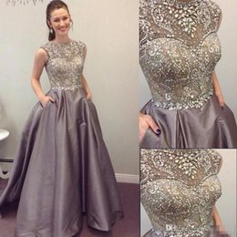 Wholesale Short One Strap Formal Dresses - 2017 Modest Prom Dresses Sparkly Beaded Crystal Formal Long Evening Celebrity Wears with Pockets Custom Made Sweet 16 Pageant Party Gowns