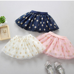 Wholesale Glitter Skirts - New Baby Girls Tutu Skirt Lace Skirts Glitter Star Net Yarn Tulle Kids Skirt Plush Ball TUTU Layer Skirts Children Mini Dress A6756