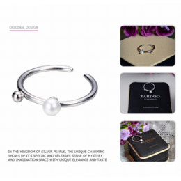 Wholesale Stylish Pearl Rings - Tardoo Stylish Simple Cuff Adjustable Bridal Rings for Women Noble 925 Sterling Silver & Pearls Love Ring Fine Jewelry
