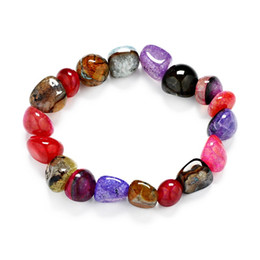 Wholesale Rainbow Crystal Bracelet - Wholesale Random Shape Crystal Agate Bracelet Women Rainbow Handmade Mixed Colorful Irregular Natural Gem Bracelets Men Fashion Jewelry Gift