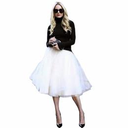 Alta falda de soplo de cintura online-Nuevo Puff Mujeres Falda de tul de gasa Faldas blancas Cintura alta Midi Hasta la rodilla Gasa más el tamaño Grunge Jupe Faldas de tutú femeninas