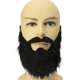 Wholesale Funny Adult Men Halloween Costumes - Wholesale-New Arrival Fashion 1pc Funny Costume Party Male Man Halloween Beard Facial Hair Disguise Game Black Mustache Top Quality