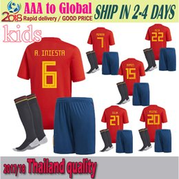 Wholesale Spain National Team - Spain 2018 World Cup national team kid soccer jersey kits+socks 6 # a.iniesta 9 morata 15 # Ramos 22 # ISCO MOPATA free shipping