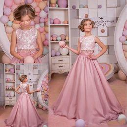 Wholesale Vintage Chiffon Flower Girl Dresses - 2017 Blush Pink Lace Ball Gown Flower Girl Dresses Two Pieces Jewel Neck Vintage Little Girls Pageant Dresses Chiffon Flower Girl Wedding