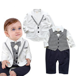Wholesale Gentleman Leisure - Baby Boy Clothing Jumpsuits + Coat Gentleman Suit outfit kids causal leisure sets children cotton baby sets Boys Toddler BB030