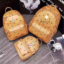 Wholesale Leather Punk Fashion - 2017 New Arrival Fashion School Bags Hot Punk style Women Backpack Rivet Crown Student Backpack PVC Leather Lady Bags school bag