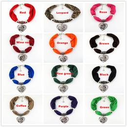 Wholesale Scarves Pendants Short - Hot Selling Elegant Golden Peach heart Pendant Short Polyester necklace Scarf 12 colors