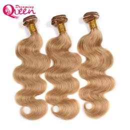 Wholesale 27 Pieces Human Hair - #27 Honey Blonde Body Wave Ombre Brazilian Human Hair Weave Ombre Virgin Human Hair 3 Bundles Human Hair Extension Free Shipping