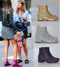 Wholesale Silver Booties Heels - Fashion Autumn Gold Silver Low Heel Ankle Boots For Women Short Rain Booties Nightclub Bling Bling Shoes Woman Big Size 43 44 45
