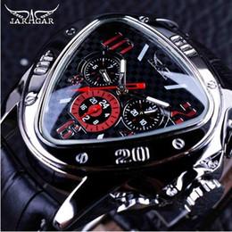 спортивные спортивные наручные часы Скидка Jaragar Sport Racing Дизайн Геометрический треугольник Дизайн Подлинная кожаный ремешок Мужские часы Лучшие бренды Роскошные автоматические наручные часы