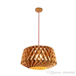 Wholesale Led 15 W - Personality Brief Nordic Honeycomb Pendant Light Hard Wood DIY Engraved Drop Lamp w  Red Wire Adjustable Bar Dining Light