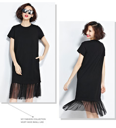 Wholesale Mesh Hem Dress - 2017 Women Shirt Dresses European Style Casual Pure Color Mesh Hem Black Dress Women