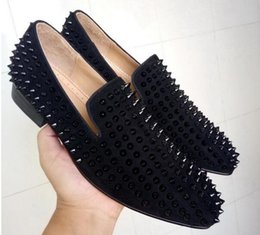 Wholesale Spiked Rivets - COOL TIRO Toafers Top Quality Red Bottom Men Women Shoes Fashion Black Suede With Black Spikes Loafers Rivets Casual Dress Shoes Flats Black