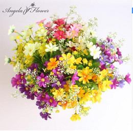 Wholesale Branch Table - One Bouquet 7 branch 28 heads cute silk daisy artificial decorative flower wedding flower bouquet home room table decoration