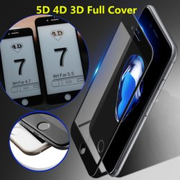 Wholesale 5d Matte Box - 5D 4D 3D Full Cover Screen Protector For iPhone 7 Plus iphone 6 6S Plus High-quality 3D Curved Tempered Glass With Retail Box