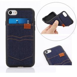 Wholesale Wholesale Cowboy Jeans - Fashion Silicome TPU Jeans Cloth Case Cowboy Pocket Leather Cover For iPhone 7 with Slot Wallet Card holder for iphone 5 iphone 6s plus