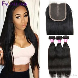 Wholesale Cheap Lace Hair Closure - New Arrivals Brazilian Straight 3 Extension Bundles With Lace Closure UNPROCESSED Peruvian Malaysian Indian Virgin Human Hair Wefts Cheap