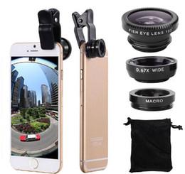 2019 cámara de teléfono celular negro 3 en 1 clip de metal universal cámara lente de teléfono móvil ojo de pez + macro + gran angular para iphone 7 s8 con paquete al por menor