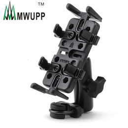 Wholesale Motorcycle Charge - Wholesale-Mwupp Metal Motorcycle Phone Holder Assembly U Clip Bicycle GPS Stand Mount Stand for Long Cycling Travel Support Charging