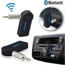 Moda universal 3.5 mm Bluetooth Car Kit A2DP Adaptador inalámbrico de audio AUX Adaptador de receptor de manos libres con micrófono para teléfono MP3 Paquete al por menor desde fabricantes
