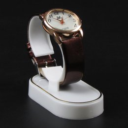 Wholesale White Leather Jewelry Displays - Wholesale White With Golden Line Plastic Jewelry Watch Display Stand Rack Jewellery Holder