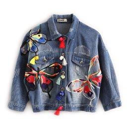 Wholesale Embroidery Butterfly Patch - Wholesale- 2016 Hitz women's embroidered patch butterfly tassel short denim jacket for women
