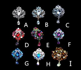 Wholesale Large Crystal Cross Wholesale - Big Crystal Waterdrop Top Quality Silver Tone Drop Brooch Exquisite Big Diamante Jewelry Brooch Large Crystal Women Broach