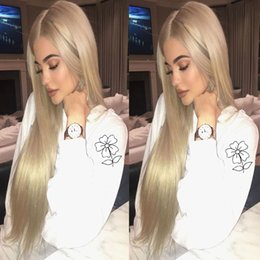 Wholesale Long Straight Silky Blonde Hair - Kylie Jenner Blonde Synthetic Lace Front Wig High Quality Long Silky Straight Lace Front Wigs Heat Resisitant With Bbay Hair For Black Women