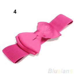 Wholesale Elastic Stretch Bows - Wholesale- 2016 Fashion Elegant Wide Stretch Buckle Bowknot Waistband Waist Elastic Bow Belt 8MNO