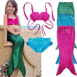 Wholesale Wholesale Bathing Suits For Kids - Girls 3 Pcs Princess Mermaid Tails For Kids Swimwear Swimsuit Bikini Set Scuba Diving Equipment Bathing Suit Fancy Cosplay