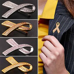 Wholesale Tie Pin Brooch Men - U7 Fashion New Pink Ribbon CZ Brooch Jewelry for Women Men Trendy Yellow Gold Platinum Plated Love Friendship Pins and Brooches Gifts B2472