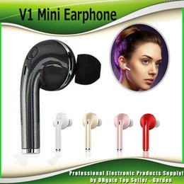 Wholesale Stealth Cell Phone - V1 Mini Bluetooth Earphones CSR4.1 Wireless Music Handsfree Car Driver Headset Cell Phone Stealth Earbuds With Microphone DHL 0102110