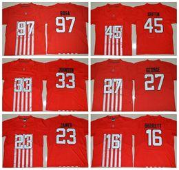 2019 pantalones cortos de lebron NCAA Ohio State Buckeyes 45 Archie Griffin 27 Eddie George 23 Lebron James 16 J.T. Barrett 33 Pete Johnson 97 jerseys cosidos Nick Bosa pantalones cortos de lebron baratos