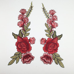 Wholesale fabric flower appliques wholesale - DIY Flower Embroidery Manual Clothing Material Beautiful Rose Applique Wedding Dress Accessories Fabric Decals Hot Sale 2 95lh C R