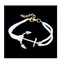 Wholesale Wholesale Vintage Bangles - Anchor Bracelets For Women Men Fashion Charm Bracelets & Bangles Rope 8 Leather Masculina Jewelry Vintage Pulseira Pulsera Mujer