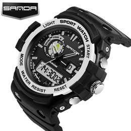 Wholesale Dual Time Boy Sports Watch - 2017 Trendy New Arrival Sanda Waterproof Dual Time Digital Sport Multi Function Quartz Shock Wristwatches For Men Boy Mountain Watches