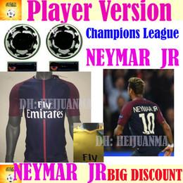 Wholesale Ripped T - 2018 Player version NEYMAR JR MBAPPE soccer jerseys AURIER T SILVA CAVANI DI MARIA PASTORE Verratti 17 18 HOME AWAY football shirts