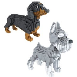 Wholesale Dachshund Toy - Cute Assembly blocks Animal Model toy Dog mini block dachshund Diamond Bricks Schnauzer Educational Kids Gifts Christmas Present