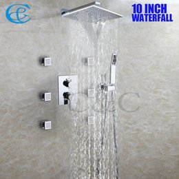 10 Inch Chrome Copper Rain And Waterfall Shower Head Set Brass Hand Shower  Holder Easy Installation Bathroom Shower Faucet 002 WS25X25 2S N